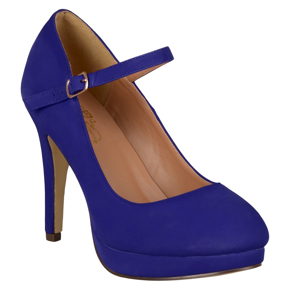 Womens Journee Collection Platform Mary Jane Pumps - Blue 7