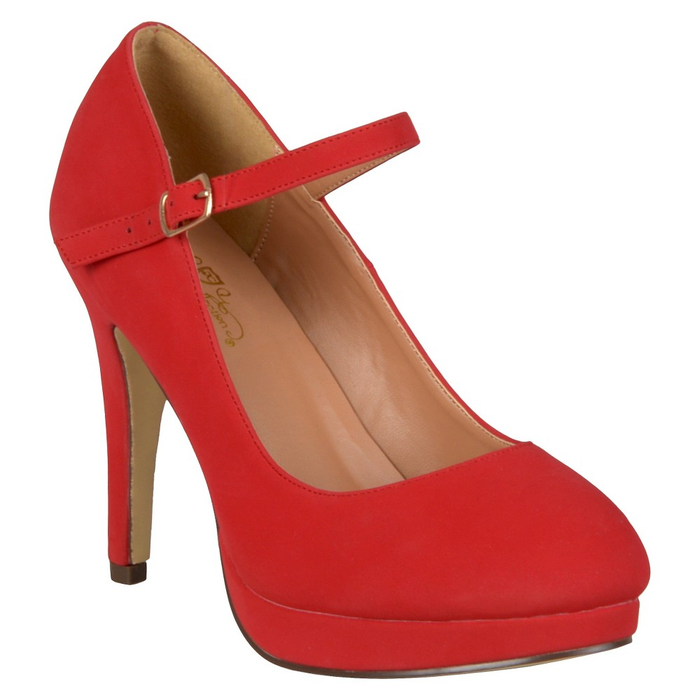 Womens Journee Collection Platform Mary Jane Pumps - Red 10