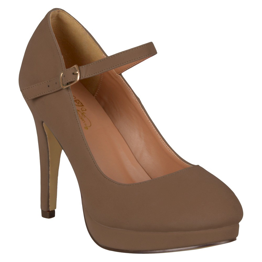 Womens Journee Collection Platform Mary Jane Pumps - Taupe (Brown) 7.5