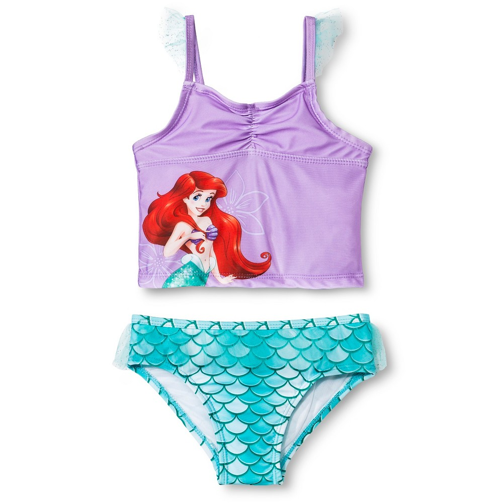 Disney Toddler Girls Little Mermaid Tankini - Purple 2T