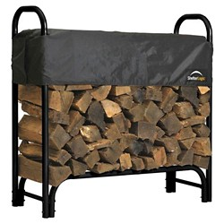 Shelter Logic 4' Firewood Rack With Cover - Black