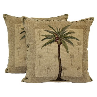 Coastal Palm Toss Throw Pillow 2 Pack (16 x16 )- Brentwood
