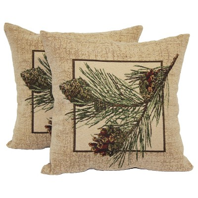 Pine Cone Throw Pillow 2 Pack (14 x14 )- Brentwood
