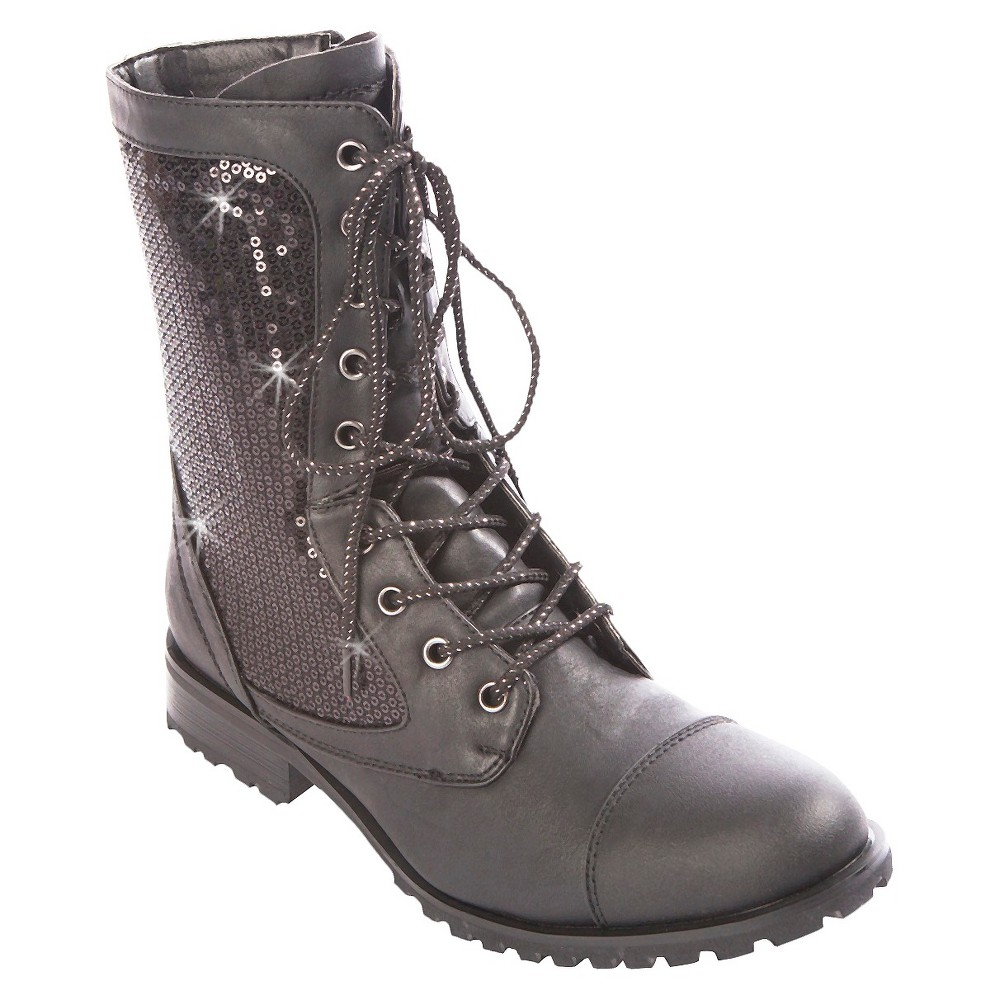 Womens Gia-Mia Combat Dance Boots - Black 8, Silver Black