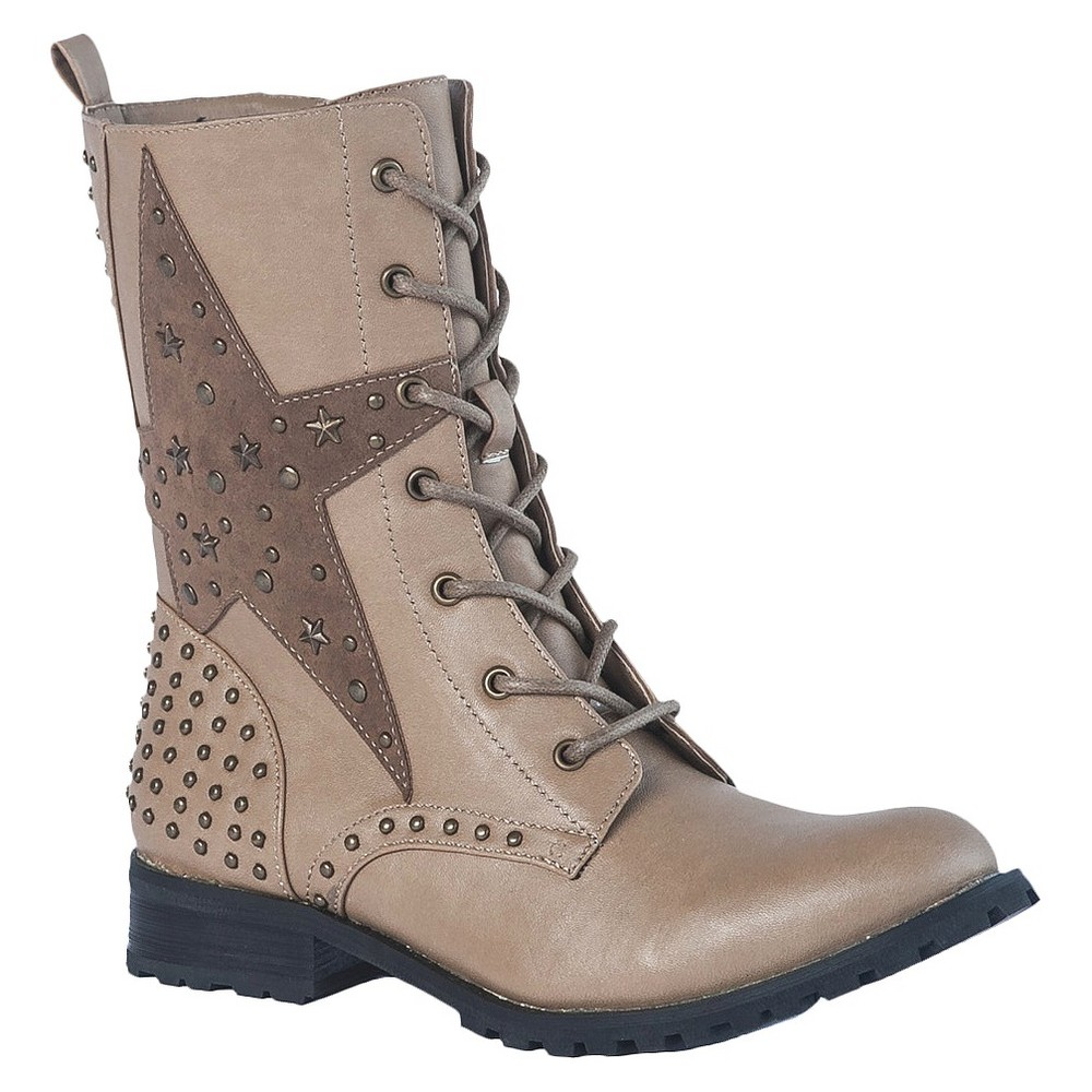 Womens Gia-Mia Combat Dance Boots - Taupe 7, Beige