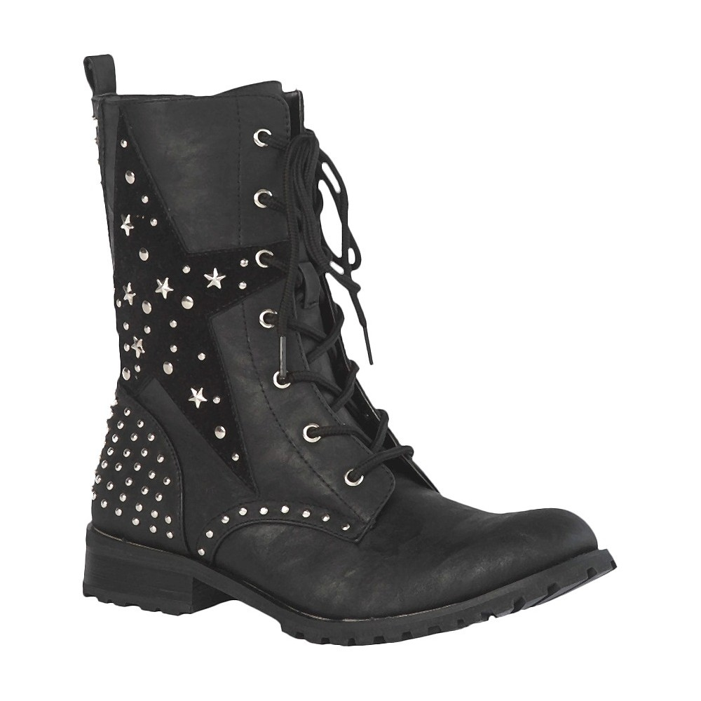 Womens Gia-Mia Combat Dance Boots - Black 6