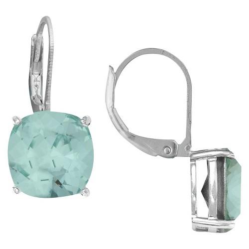 Women's Azure Cushion Lever Back Swarovski Earrings in Silver Plating (10mm)