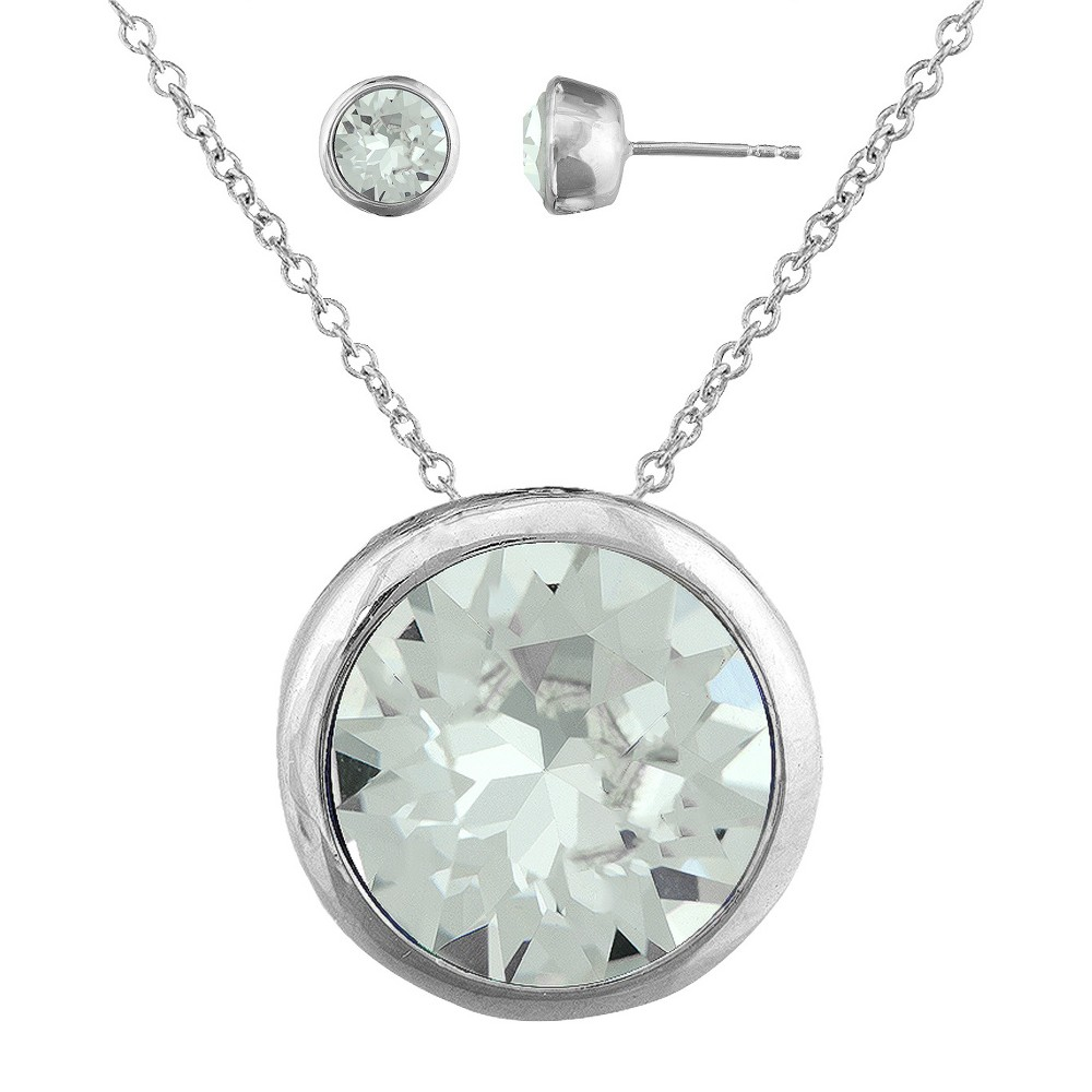 Womens Clear Round Stud Earring (8mm) and Bezel Pendant Set in Silver Plating with Crystals from Swarovski (11mm), Silver/Clear