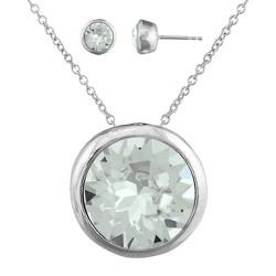 Women's Clear Round Stud Earring (8mm) and Bezel Pendant Set in Silver Plating with Crystals from Swarovski (11mm)