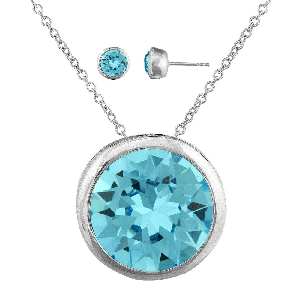 Womens Aqua Round Stud Earring (8mm) and Bezel Pendant Set with Crystals from Swarovski in Silver Plating (11mm), Silver/Turquoise
