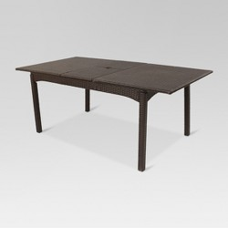 "Harrison All Weather Wicker 76"" Extendable Rectangle Patio Dining Table - Brown"