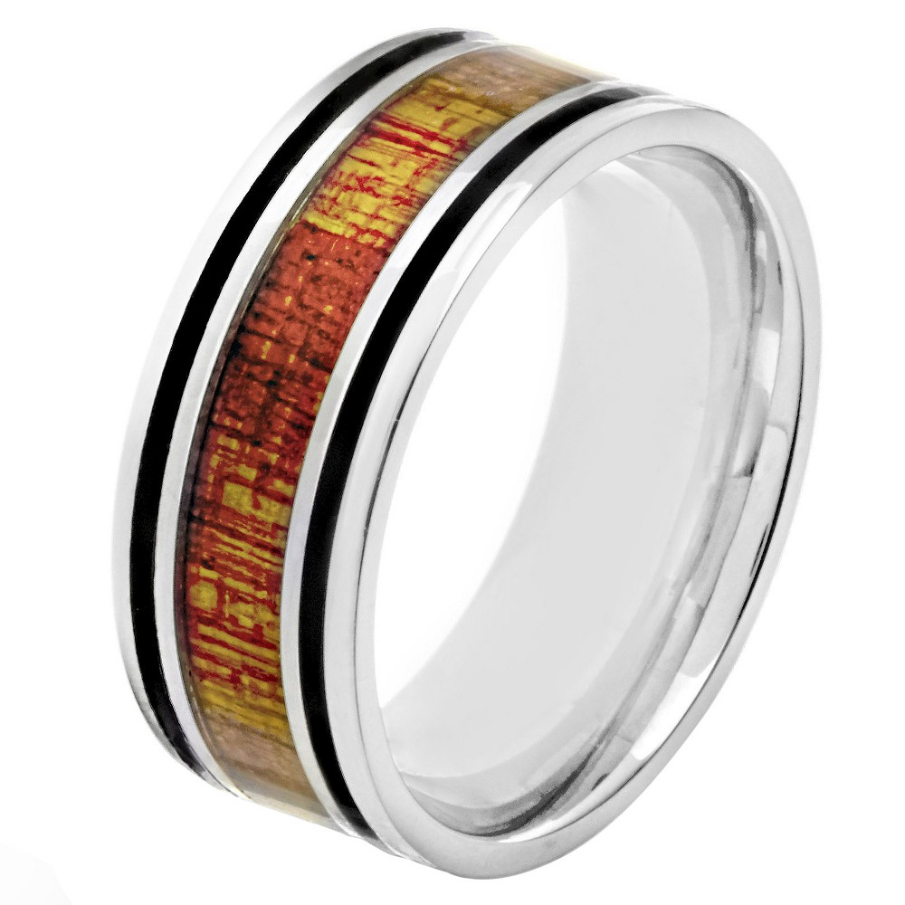 Mens Crucible Stainless Steel Wood Inlay and Enamel Stripe Ring - Black (9), Silver