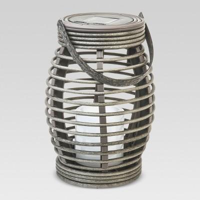 Rattan Solar LED Lantern Pagoda Light Brown Medium - Threshold™