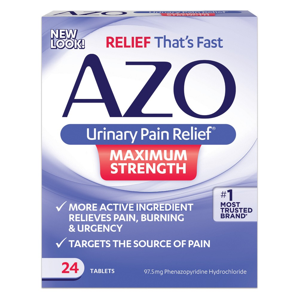Product Description: AZO Urinary Pain Relief™ Maximum Strength is an over-the-counter pain reliever specifically designed for treating the symptoms associated with a urinary tract infection (UTI) such as pain, burning, urgency and frequency.