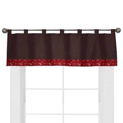 Sweet Jojo Designs Wild West Cowboy Window Valance- Chocolate-Red-Cream