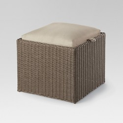 Heatherstone Wicker Reversible Patio Ottoman - Tan - Threshold™