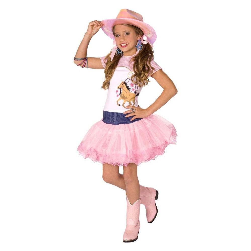 Girls Cowgirl Pop Star Costume Medium (8-10), Size: M(8-10), Variation Parent