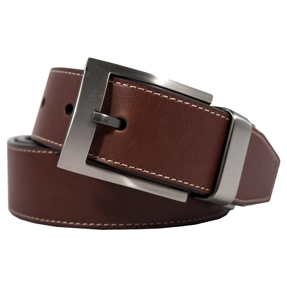 Swiss Gear Mens Cognac Stitch Belt - Brown L, Black Brown