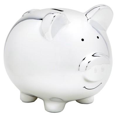 Pearhead Ceramic Piggy Bank - Silver