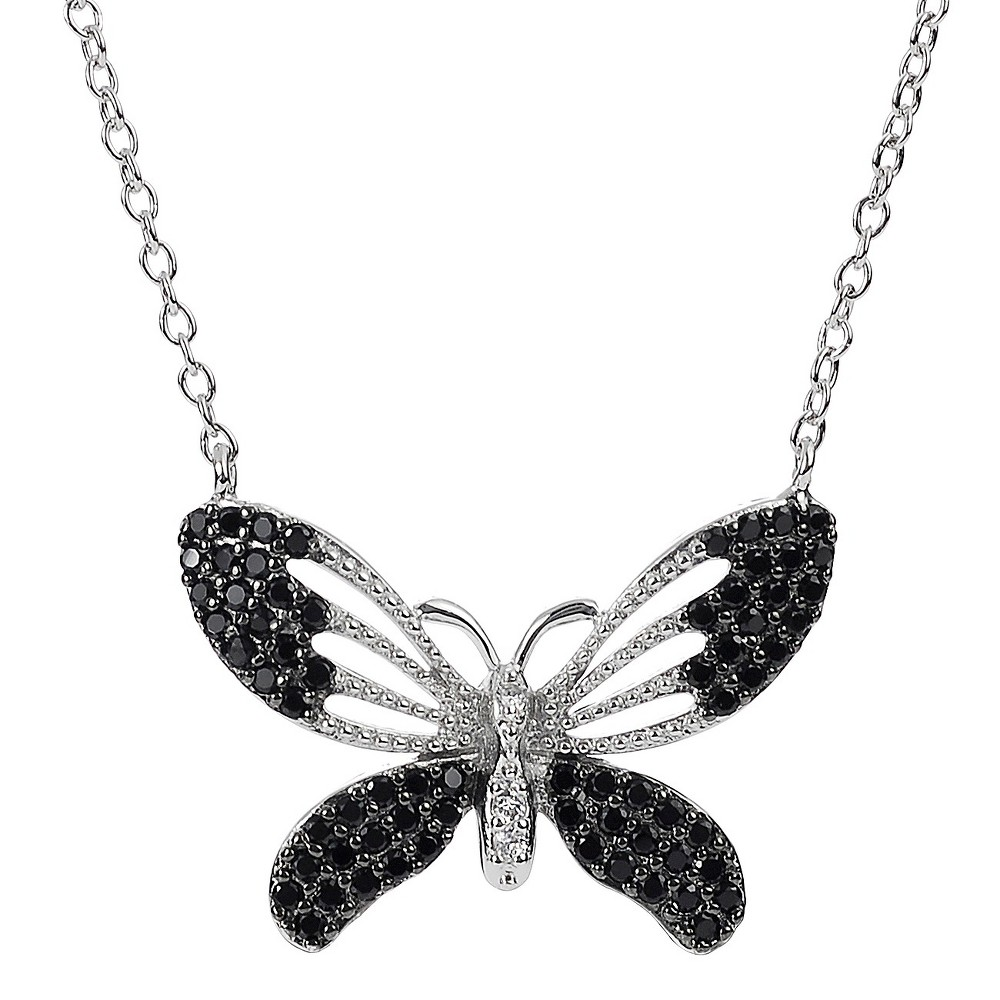 3/4 CT. T.W. Round Cut Cubic Zirconia Prong Set Butterfly Pendant Necklace in Sterling Silver - Black, Womens