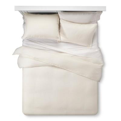 Off White Mini Fray Linen Duvet Set (Full/Queen)- 3-pc