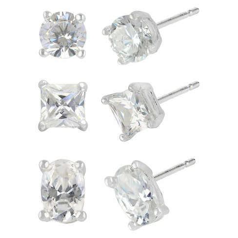 Women's Sterling Silver Cubic Zirconia Set of 3 Stud Earring Round/Square/Oval in a Box - Silver/Clear&# - image 1 of 1
