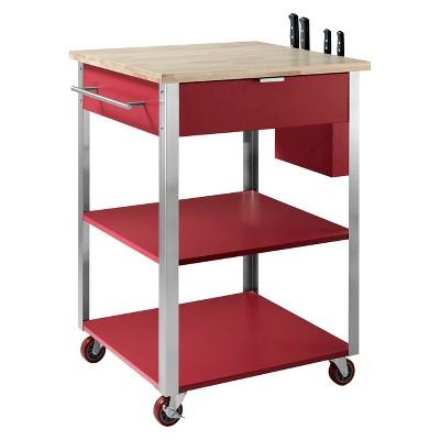 Culinary Wood Top Prep Kitchen Cart Metal/Red   Crosley