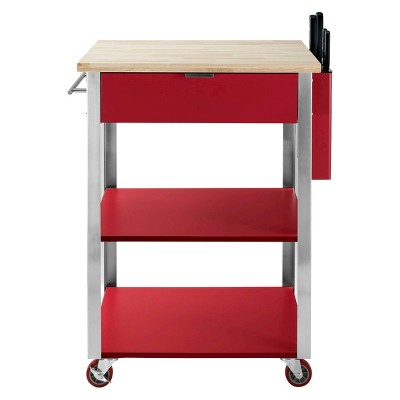 Culinary Wood Top Prep Kitchen Cart Metal/Red   Crosley
