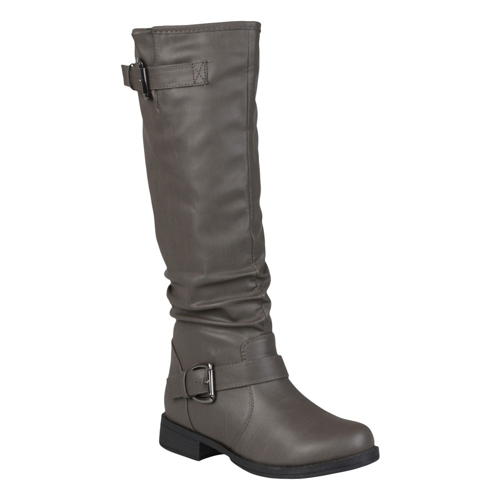 Women's Journee Collection Buckle Detail Slouch Boots - Gray 7.5 Wide Calf
