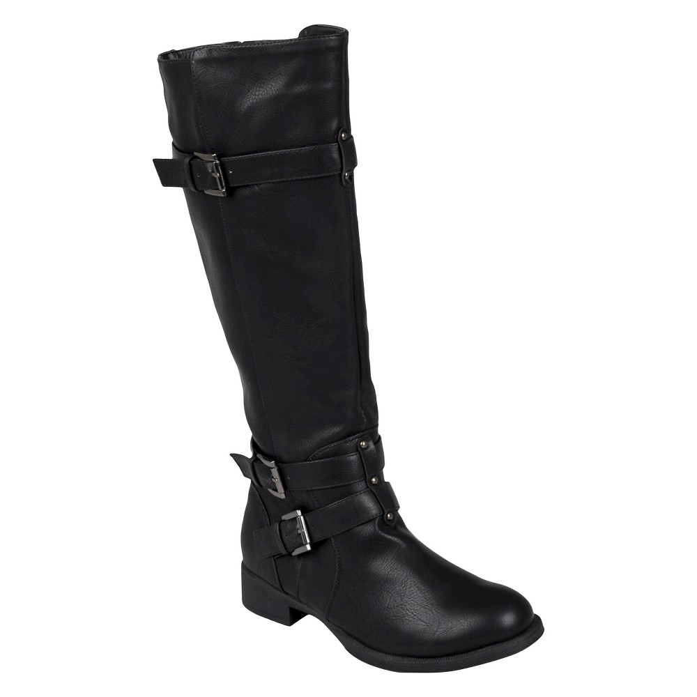 Womens Journee Collection Buckle Detail Tall Boots - Black 7.5 Wide Calf