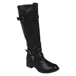 Women's Journee Collection Buckle Detail Tall Boots - Black 8.5 Wide Calf