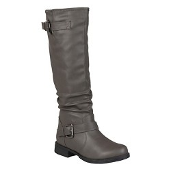 Women's Journee Collection Buckle Detail Slouch Boots - Gray 7 Wide Calf