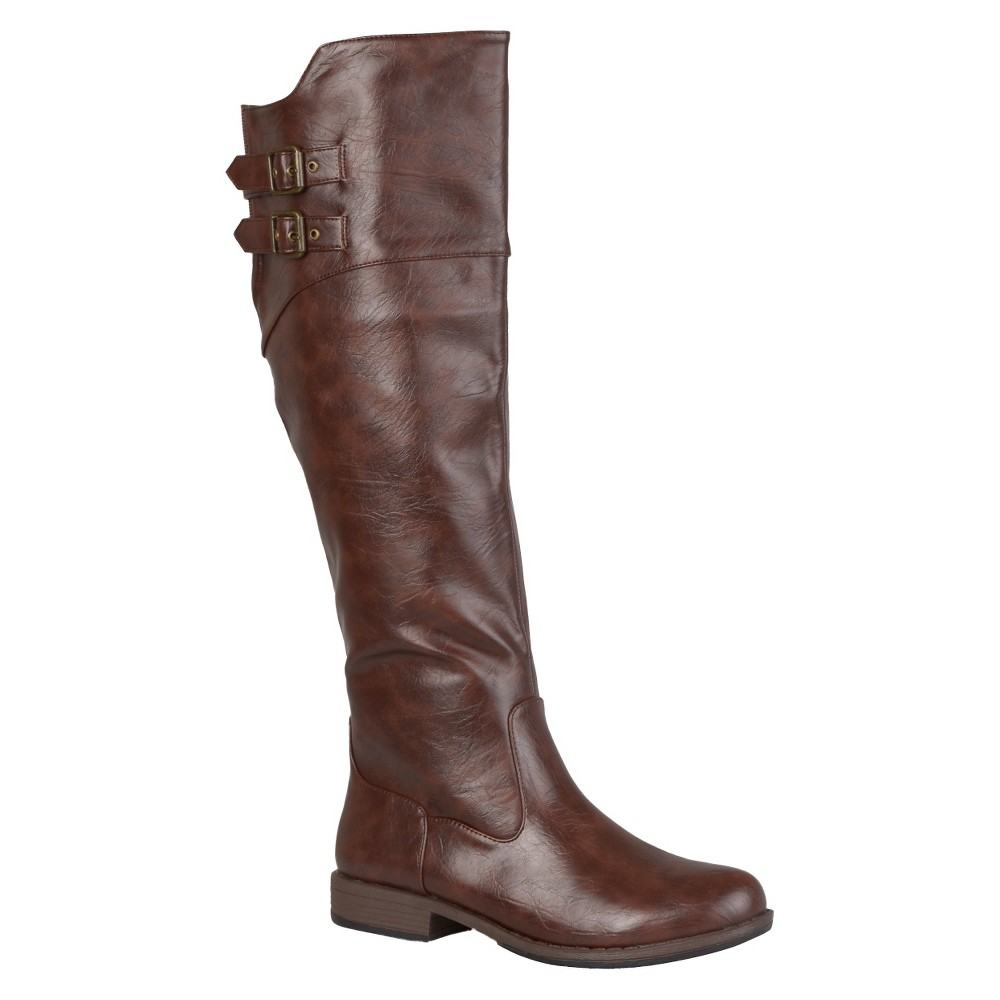 Womens Journee Collection Round Toe Buckle Detail Boots - Brown 7.5 Wide Calf