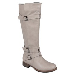 Women's Journee Collection Buckle Detail Tall Boots - Taupe 9.5 Wide Calf