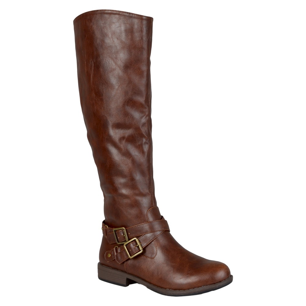 Womens Journee Collection Round Toe Buckle Detail Boots - Brown 9 Wide Calf