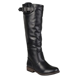 Women's Journee Collection Buckle Detail Fashion Boots - Black 7 Wide Calf