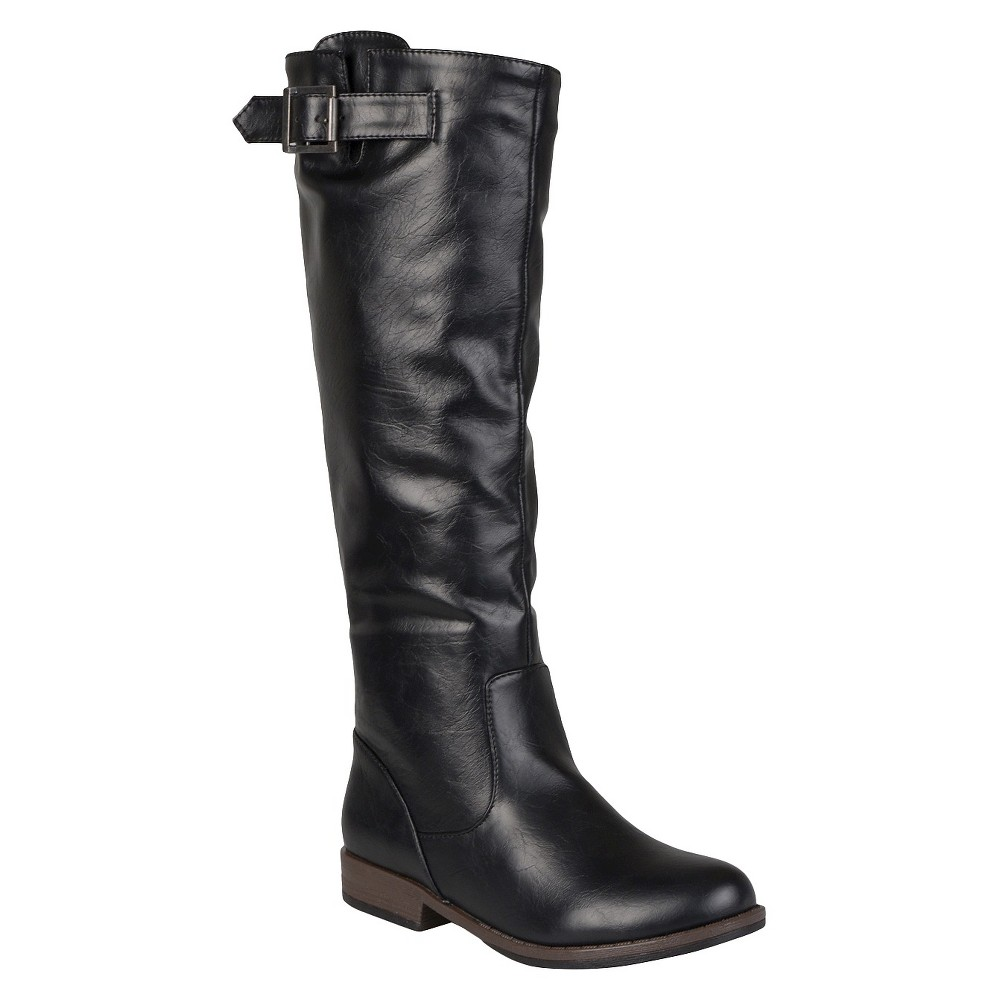 Womens Journee Collection Buckle Detail Fashion Boots - Black 7.5 Wide Calf