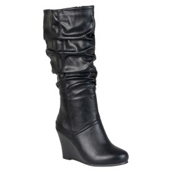 Women's Journee Collection Slouchy Wedge Boots - Black 10 Wide Calf