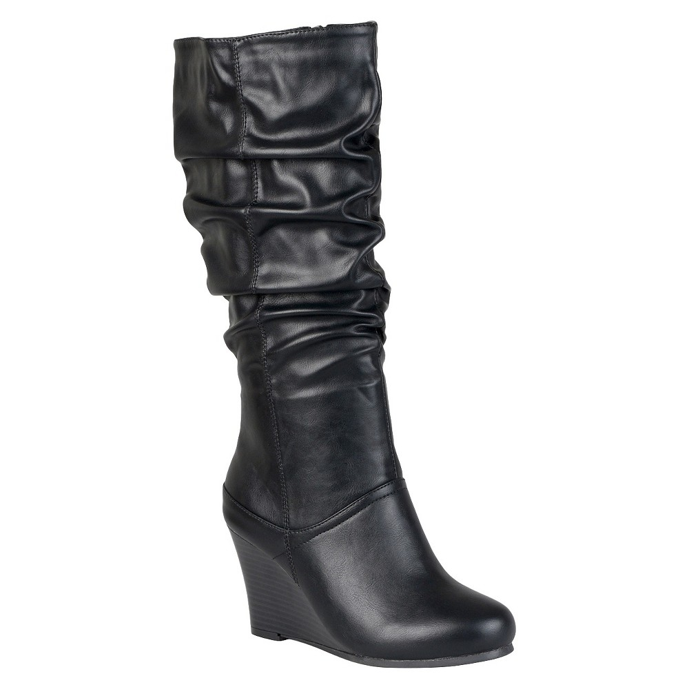 Women's Journee Collection Slouchy Wedge Boots - Black 10 plus size,  plus size fashion plus size appare