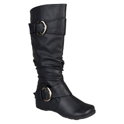 Women's Journee Collection Buckle Detail Slouch Boots - Black 7.5