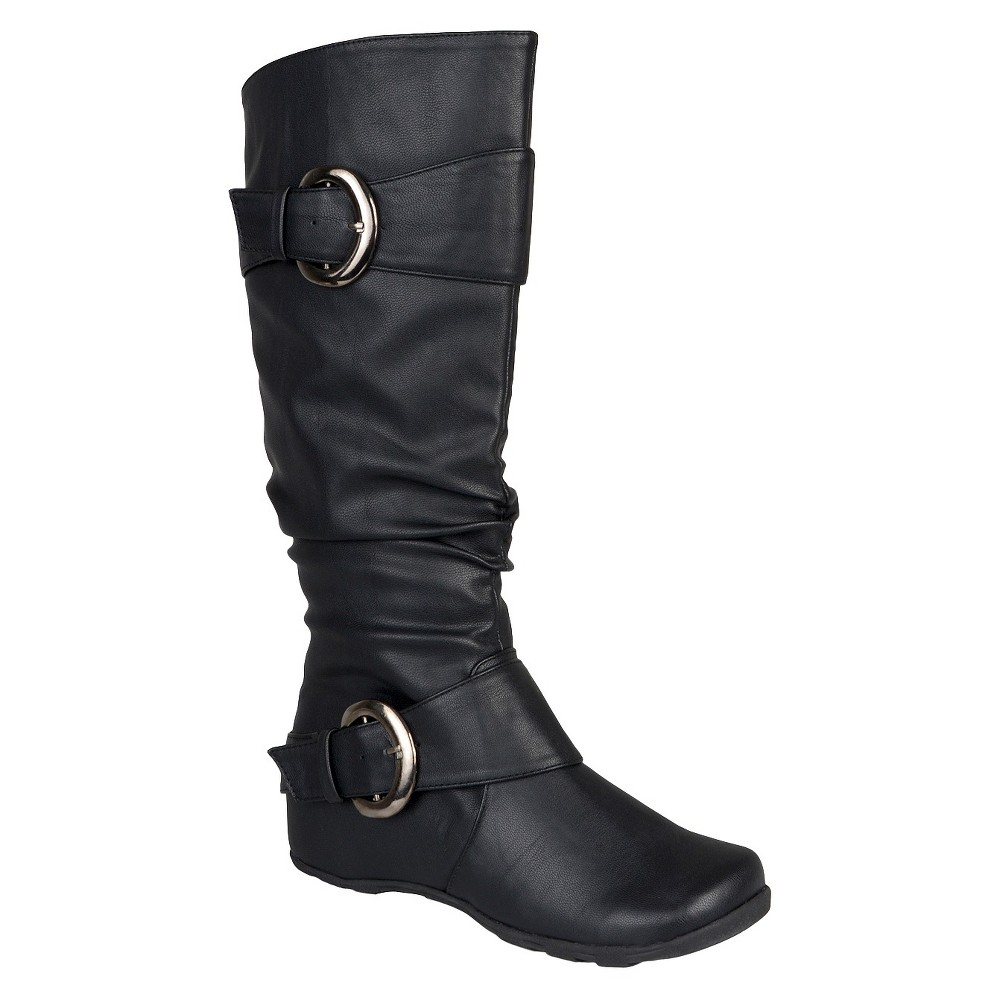 Womens Journee Collection Buckle Detail Slouch Boots - Black 8.5
