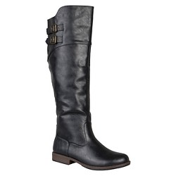Women's Journee Collection Round Toe Buckle Detail Boots - Black 8.5