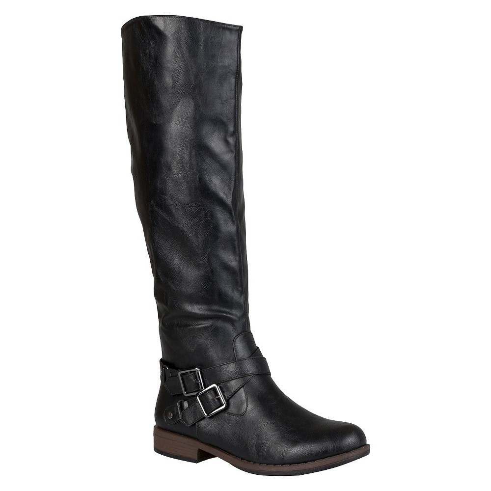 Womens Journee Collection Round Toe Buckle Detail Boots - Black 7.5 Wide Calf