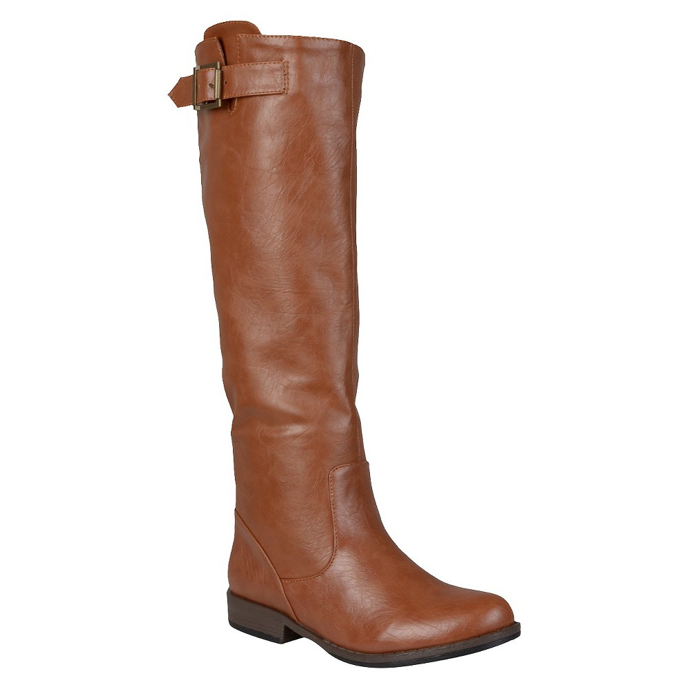 Womens Journee Collection Buckle Detail Fashion Boots - Brown 7.5 Wide Calf