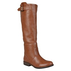 Women's Journee Collection Buckle Detail Fashion Boots - Brown 7.5 Wide Calf