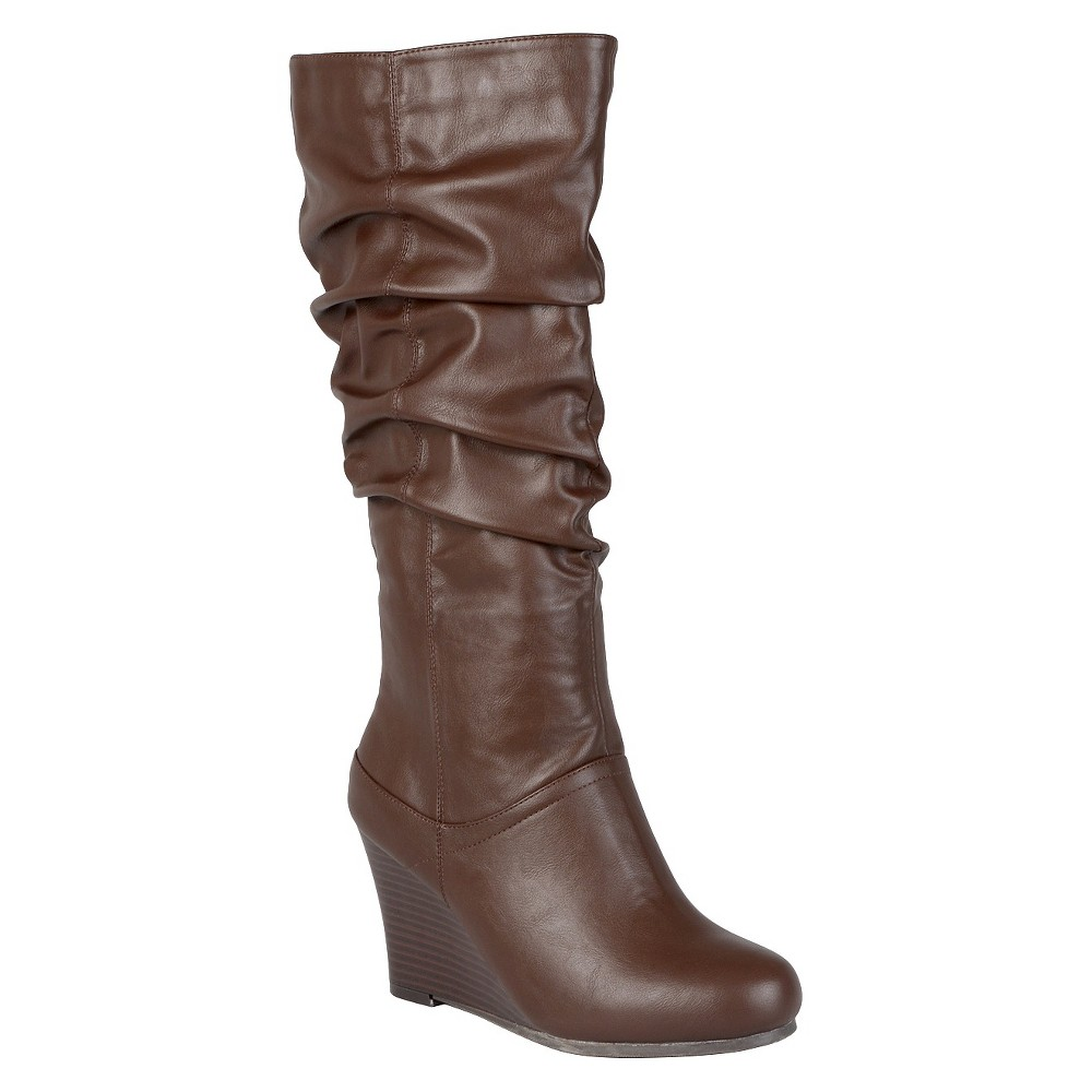 Womens Journee Collection Slouchy Wedge Boots - Brown 9 Wide Calf