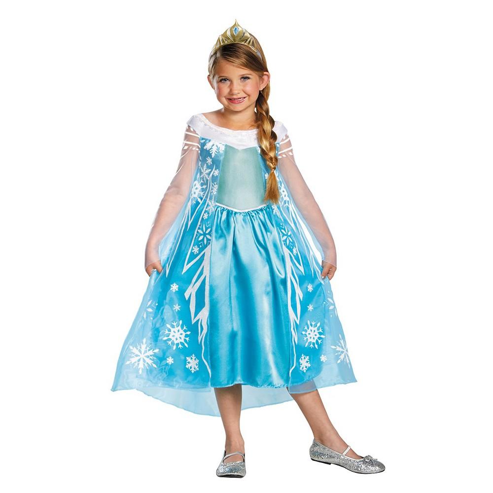 Frozen Girls Elsa Deluxe Costume Large (10-12), Size: L(10-12), Blue