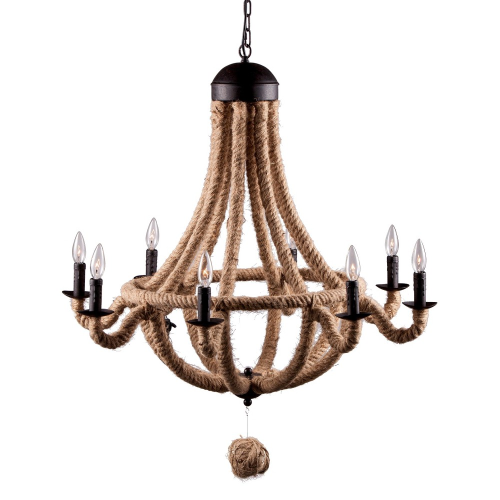 Twine-Wrapped 35 Iron Chandelier Ceiling Lamp - ZM Home, ...