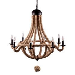 """Twine-Wrapped 35"""" Iron Chandelier Ceiling Lamp - ZM Home"""