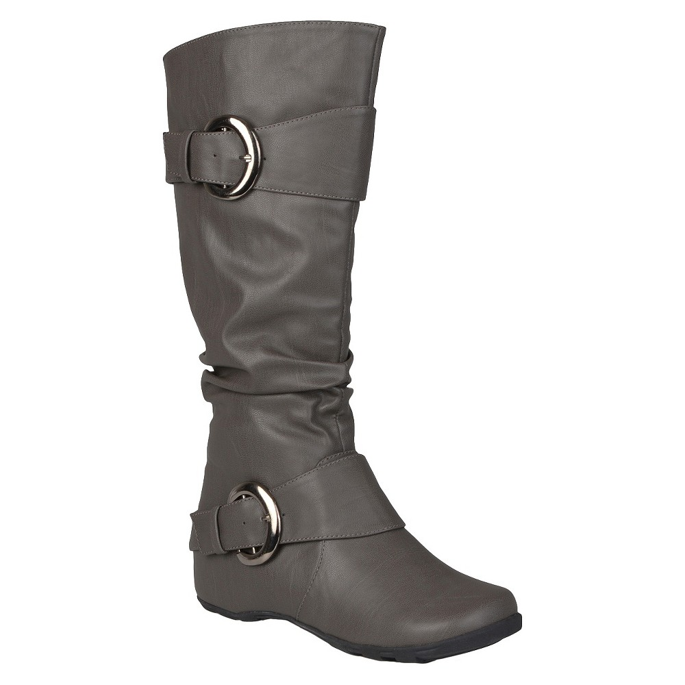 Womens Journee Collection Buckle Detail Slouch Boots - Gray 8 Wide Calf
